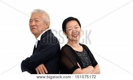 Asian Senior Partner Dress In Formal Attire. Love Life Family Business Concept..
