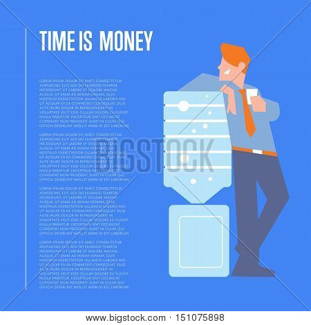 Time is money banner with smiling businessman in business suit and tie near water cooler, isolated vector illustration on blue background. Business banner with space for text. Business people