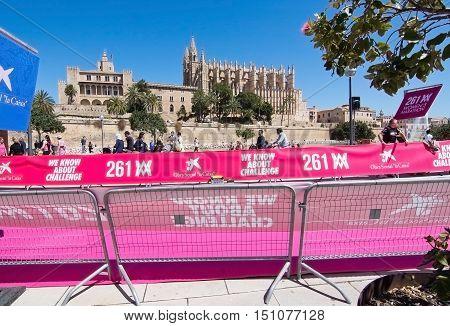 PALMA DE MALLORCA BALEARIC ISLANDS SPAIN - APRIL 10 2016: Cathedral view at the Women's marathon in Palma de Mallorca Balearic islands Spain on April 10 2016.