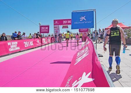 PALMA DE MALLORCA BALEARIC ISLANDS SPAIN - APRIL 10 2016: Active runners at the Women's marathon in Palma de Mallorca Balearic islands Spain on April 10 2016.