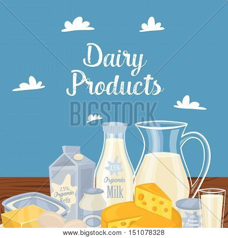 Farm products banner with dairy on wooden table vector illustration. Healthy nutritious concept with butter, eggs, milk, cheese. Natural and healthy food. Organic farmers food. Organic food and dairy product concept. Milk product icon. Cartoon dairy