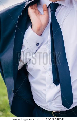 Fashion Detail Image Of A Groom Wearing