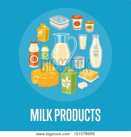 Milk products banner with round dairy assortment composition isolated on blue background, vector illustration. Healthy nutritious concept with butter, eggs, milk, yoghurt, cheese, cream, kefir.