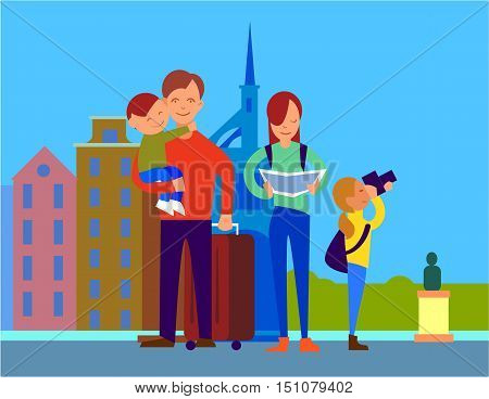 Traveling with family in foreign country. Father with suitcase holding son on hand, mother watching in map, daughter making photos. Couple with children on vacation in Europe. For travel company ad