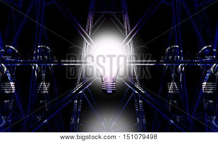 The light bulbs on the background of the Electricity pylons. 3D illustration