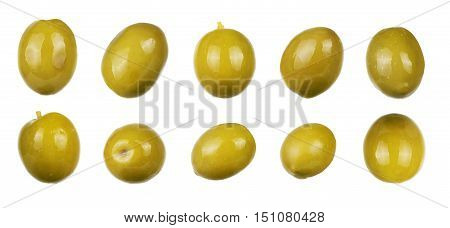 green olives isolated on white. collection isolated, vegetarian,