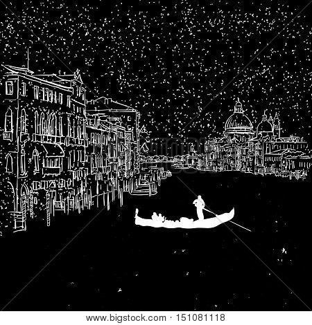 Venezia By Night Grand Canal Sketch