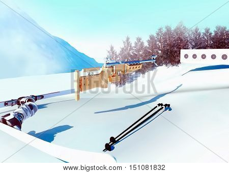 Sport background with biathlon. The biathlon rifle is aimed at the shooting stand. Firing lying. 3D illustration