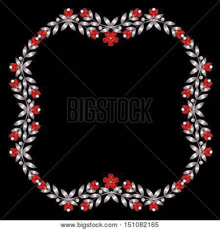Frame of silver leaves and ruby flowers and buds with diamonds