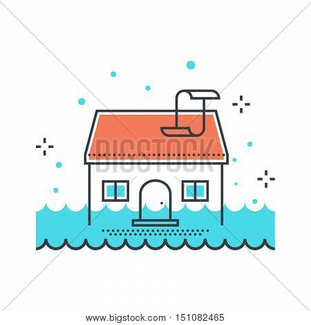 Color Line, House Flood Concept Illustration, Icon
