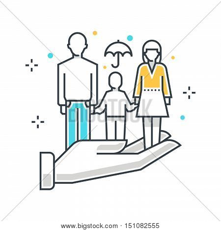 Color Line, Family Insuance Concept Illustration, Icon