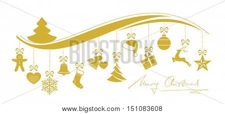 Set of 12 Christmas ornaments hanging from a wavy border topped with a Christmas tree and handwritten Merry Christmas underneath.