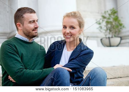 Portrait of real happy couple in love