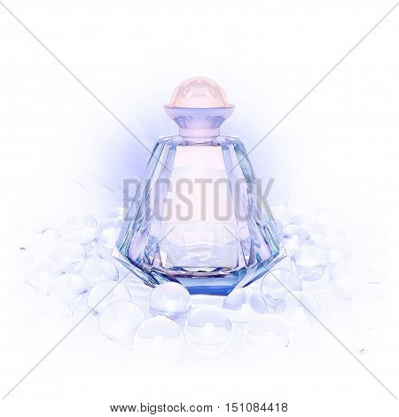 Perfume in a glass bottles and glass beads on white. 3D illustration