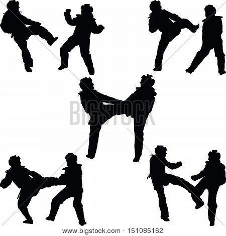 two women practice taekwondo sport silhouette vector