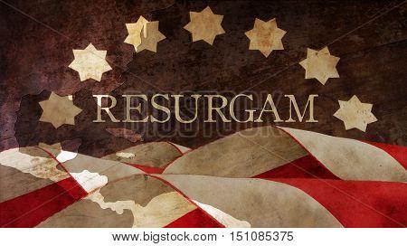 Resurgam. The Latin for I shall rise again. Usa Flag and Chart.
