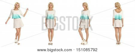 Fashion Model Dressed In Short Skirt Isolated On White