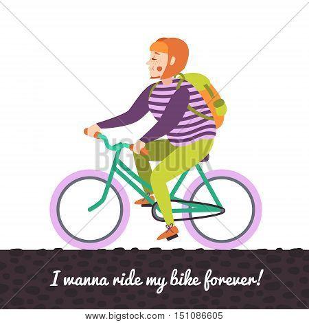 Red bob hair girl on the green bike vector illustration.