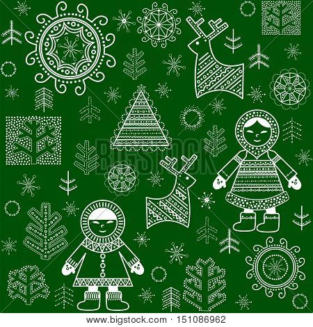 Winter paper green wrapper with inuit, reindeers and trees
