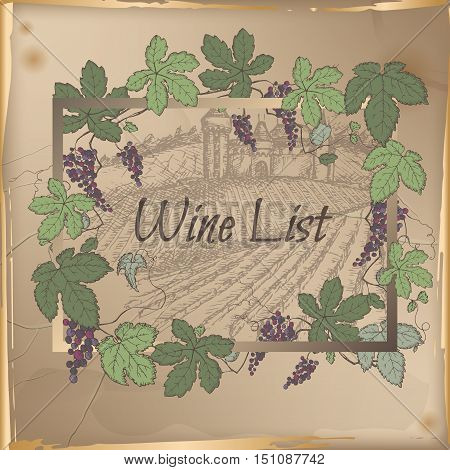 Wine list template with castle, vineyard and color grapevine frame on vintage background. Great for restaurants, cafes, bars, markets, grocery stores, organic shops, food label design.