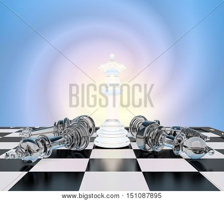 The chess white queen on a chessboard other chess lie.Concept victory of the queen.Your performance queen! 3D illustration
