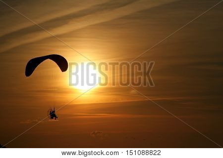 Paraglider Over The Sea At Sunset 1