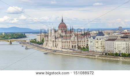 Hungarian Parliament in Budapest. View from the banks of the Danube River.