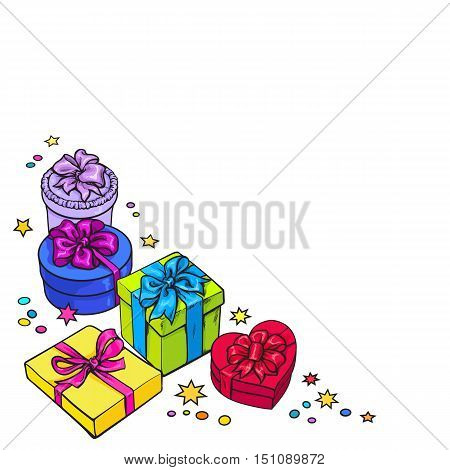 Colorful round frame of gift and present boxes with bows and ribbons, sketch style greeting card, banner template. Round frame made of Xmas, birthday, Valentine presents, gifts, decoration elements