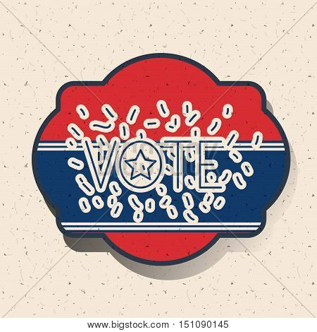 Elephant and donkey inside frame icon. Vote election nation and government theme. Silhouette design. Vector illustration