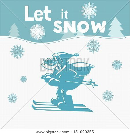 Santa Claus Cartoon character. Father Christmas skiing on snow carrying sack with gifts. Freehand man silhouette. Xmas holiday symbol. Happy new year season greeting card. Vector Illustration