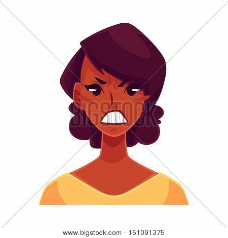 Pretty African girl, angry facial expression, cartoon vector illustrations isolated on white background. Black woman frowns, feeling distresses, frustrated, sullen, upset. Angry face expression