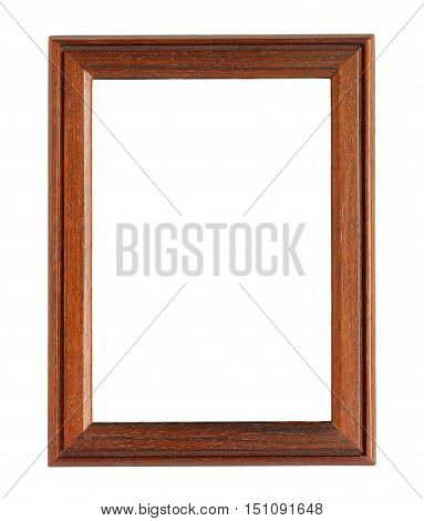 Vertical Wooden Photo Frame isolated on white background