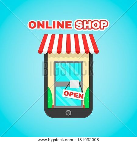 Mobile online shop vector flat icon illustration. E-commerce digital market online purchase online shopping mobile app for your personal or commercial use concept