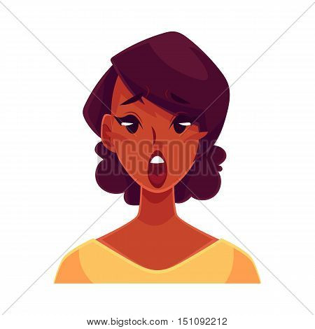 Pretty African girl, surprised facial expression, cartoon vector illustrations isolated on white background. Black woman surprised, shocked, amazed, astonished. Surprised face expression