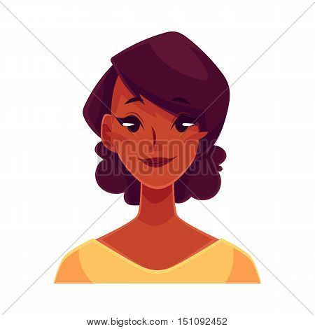 Pretty African girl, neutral facial expression, cartoon vector illustrations isolated on white background. Black woman feeling glad, serene, relaxed, delighted. Neutral face expression