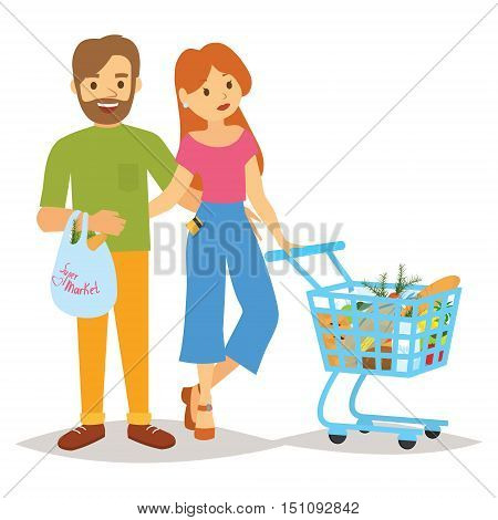 People with a trolley and shopping. Shopping people woman and man with shopping bags. Flat-type people in the shopping center supermarket deli vector figure on a white background.