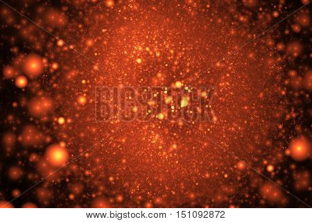 Supernova explosion. Abstract colorful red and orange sparks on black background. Fantasy fractal texture for posters postcards or t-shirts.
