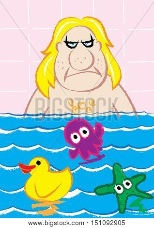 mobster bathing with cute toys vector illustration