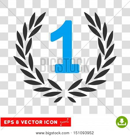 Vector First Laurel Wreath EPS vector pictograph. Illustration style is flat iconic bicolor blue and gray symbol on a transparent background.