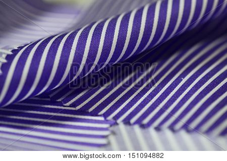 close up texture fabric purple line and white of shirt photo shoot by depth of field for object