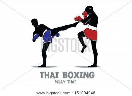 Thai boxing (Muay Thai) vector isolated on white background, Blue and Red Fight Fighter