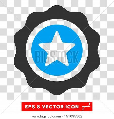 Vector Reward Seal EPS vector pictograph. Illustration style is flat iconic bicolor blue and gray symbol on a transparent background.