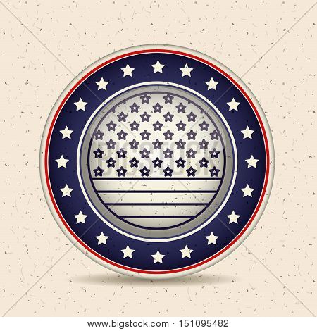 Stars and button icon. Vote election nation and government theme. Silhouette design. Vector illustration
