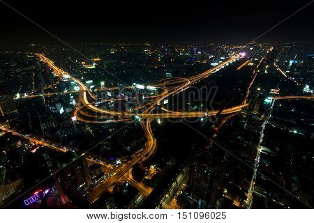 Cityscape, Expressway With Light Of Car On Road And City