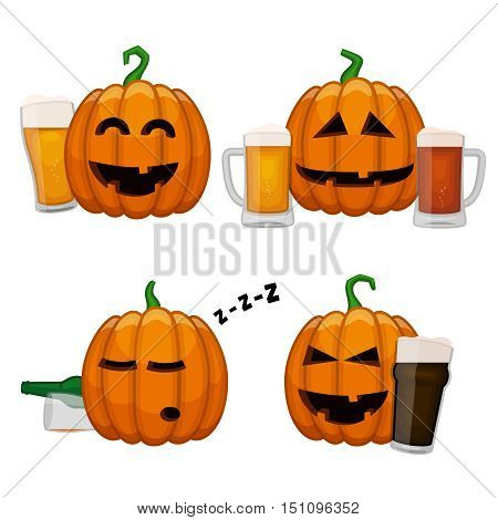 Set of drunk pumpkins. Happy Halloween pumpkins with glasses of beer. All saints eve beer party poster.