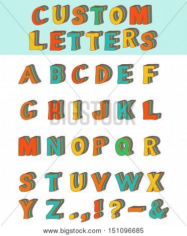 Three-dimensional layered custom children alphabet font. Vector illustration of 3d font characters. Many different colors in layers. Upper case. Eps 8 stock vector.
