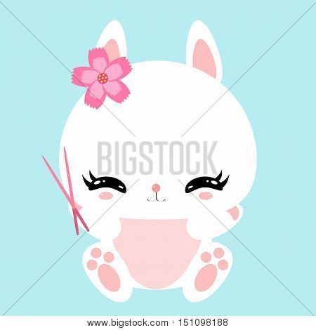 Cute little bunny in asian style with chopsticks. Sakura flower. Children's character.