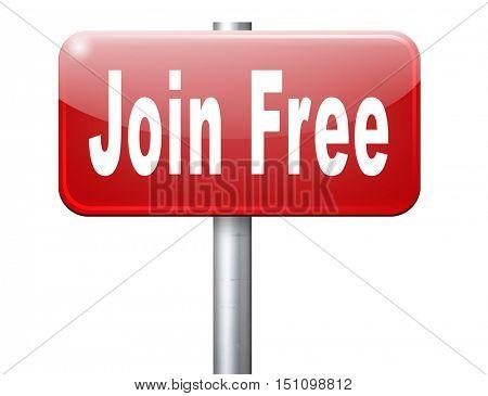join free membership make member account 3D illustration