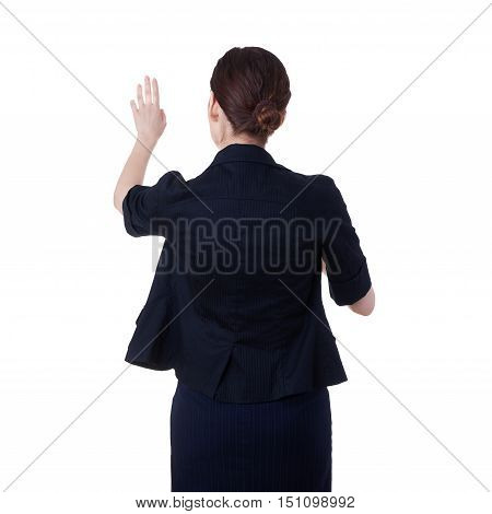 Businesswoman standing over white isolated background working with virtual screen, business, education, office, future technology concept