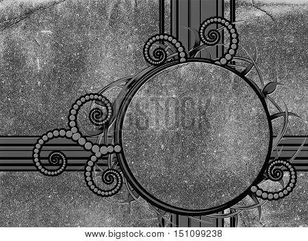 Abstract gray stone background with a round frame